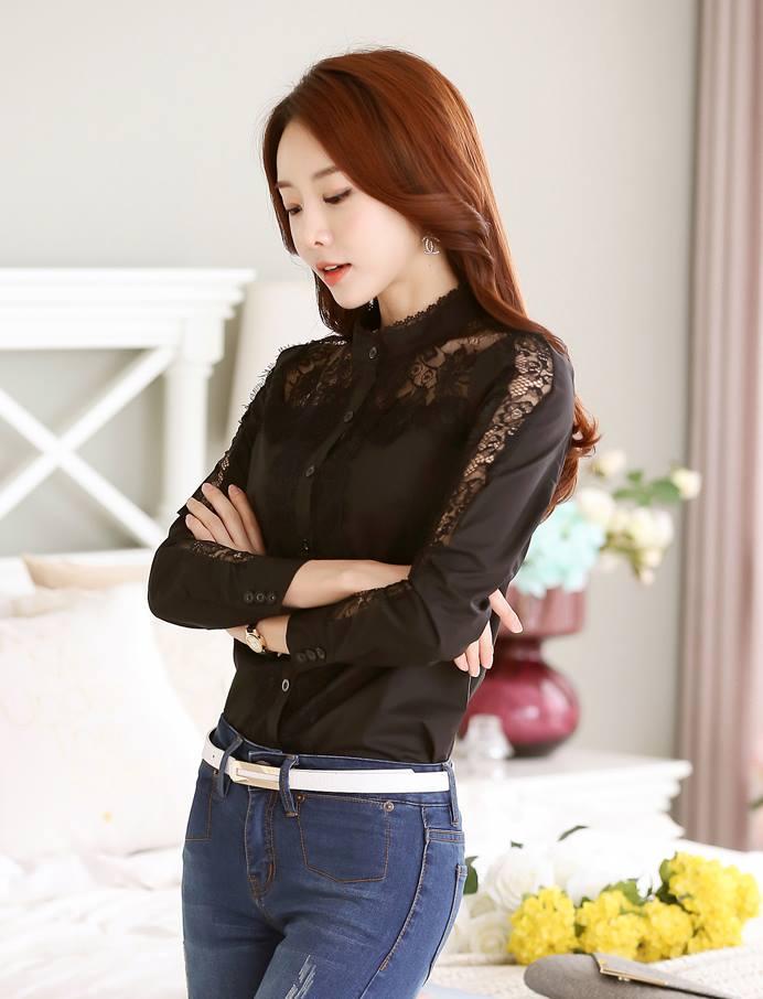 เสื้อลูกไม้คอจีนแต่งระบายลูกไม้ ช่วงไหล่แต่งผ้าซีทรู สีดำ(Black)