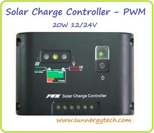 ตัวควบคุมการชาร์จแบตเตอรี่ แบบ PWM ขนาด 20A 12/24V (C)