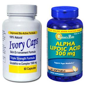 ((เซ็ตคู่ยอดนิยม)) Ivory Caps 1500 mg 60 แคปซูล + Puritan ALA 300 mg Softgel 60 เม็ด (USA) ผิวขาว ครบสูตร