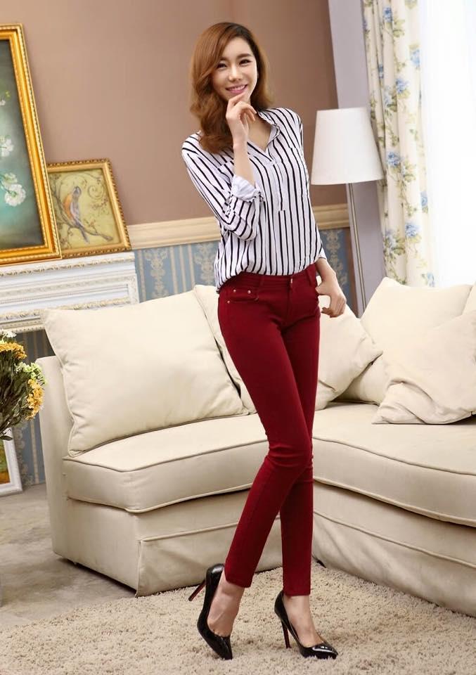 กางเกงสกินนี่ผ้ายีนส์ ฟอกสี สีที่ 4