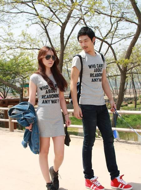 ชุดคู่รัก เสื้อยืด + มินิเดรส สีเทา ใส่เที่ยวเป็นคู่ เท่ห์ฝุด ๆ