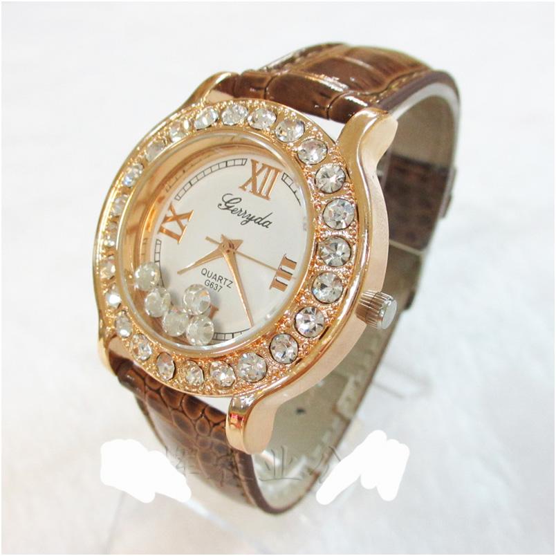 Geneva Quartz watches women นาฬิกาผู้หญิง แบรนด์ของฮ่องกง ระบบควอทด์ กันน้ำ กันสนิม สีน้ำตาล