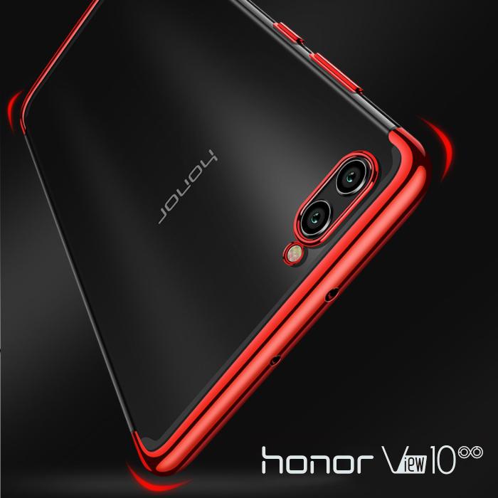 เคส Honor View 10 เคสนิ่ม SLIM TPU สีใส ขอบเงา ( สีแดง )