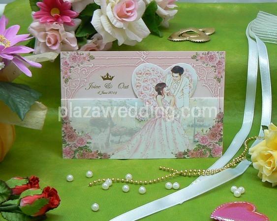 > การ์ดแต่งงานแบบพับ ขนาด 4x6 นิ้ว สีชมพู รหัส 7951