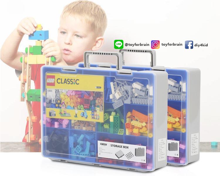 กล่องเก็บเลโก้ สามารถใส่คู่มือพร้อมกันได้ เก็บชิ้นส่วนเลโก้ให้เป็นระเบียบ LOGO BOX สีฟ้า