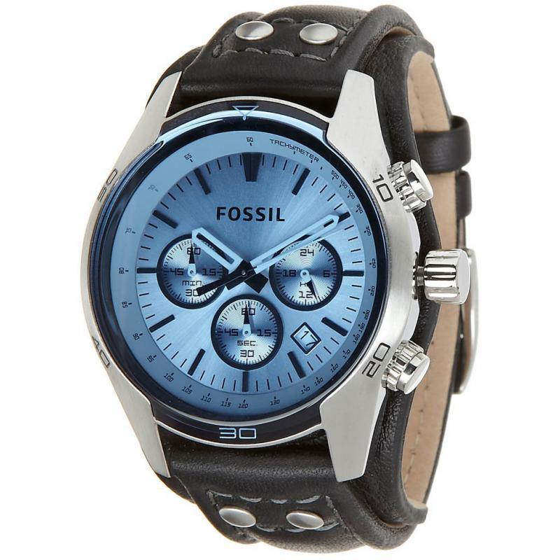 Fossil CH2564 Gents Black Leather Cuff Strap