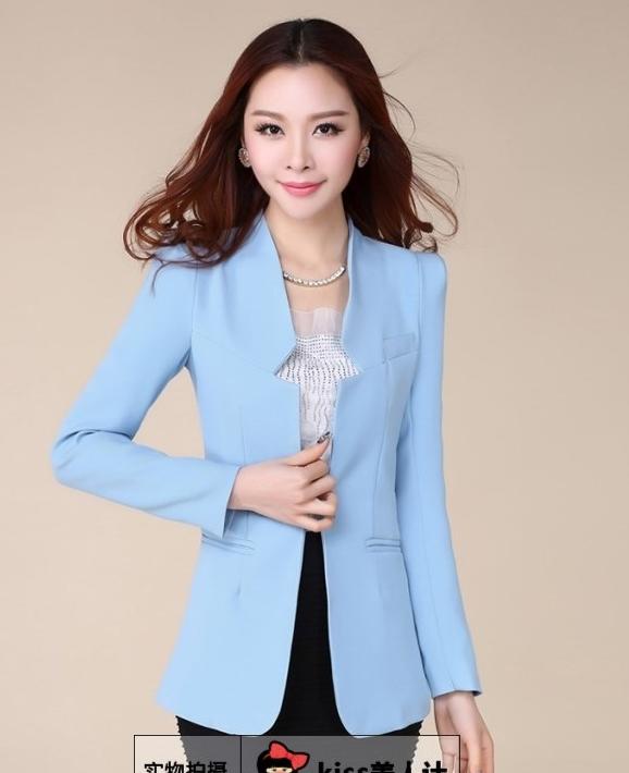 เสื้อสูทแฟชั่น พร้อมส่ง สีฟ้า แต่งเว้าที่ปกเสื้อเก๋ๆ รูปทรงสุดหรู ตัวยาว ใส่ทำงานได้ มี SIZE M,L,XL