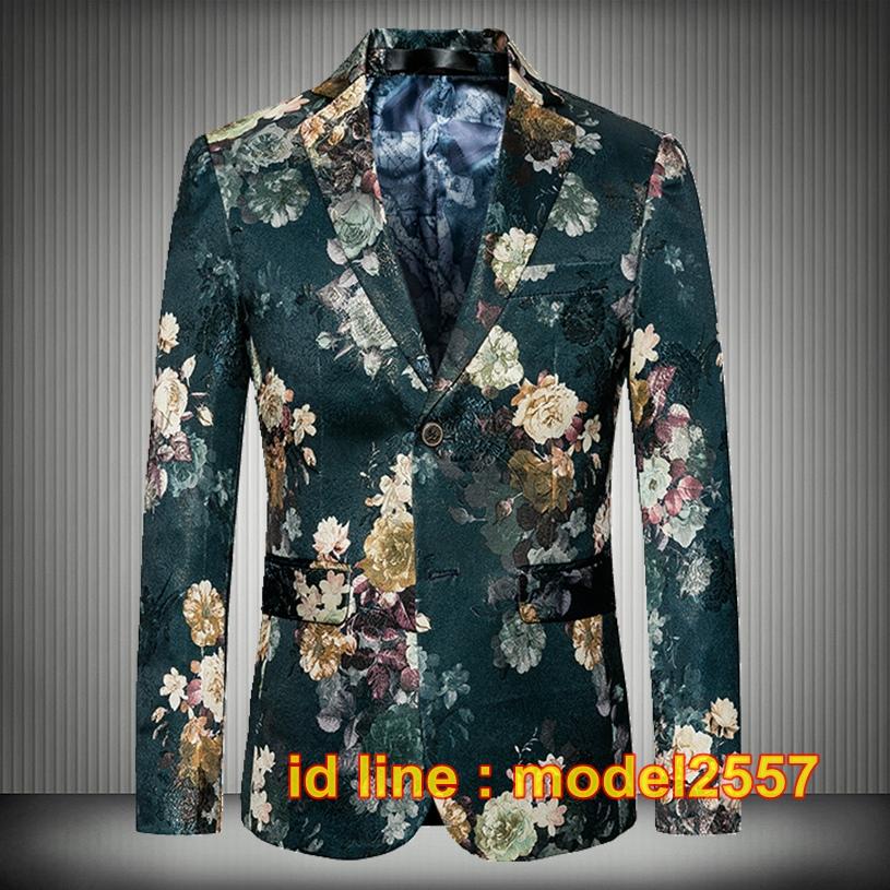 JM6102012 เสื้อสูทลำลองผู้ชายเสื้อสูทงานเลี้ยงพิมพ์ลายแบบตะวันตก