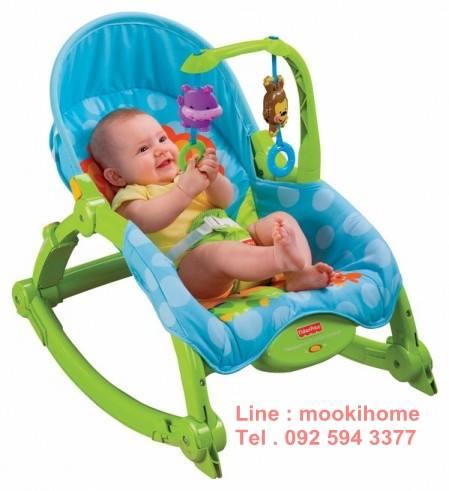 เปลโยกมัลติฟังก์ชั่น &#x2665 Rocking Baby Bouncer Newborn-to-Toddler Portable Rocker (สีฟ้า)