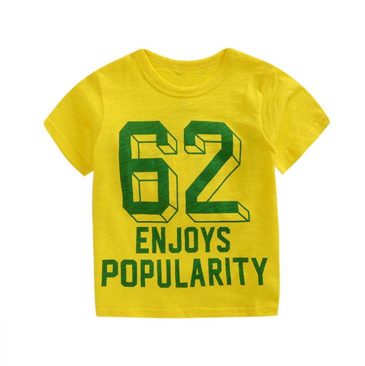 **เสื้อยืดลาย 62 สีเหลือง size: 100-140 (5pcs/pack) | 5ตัว/แพ๊ค | เฉลี่ย 70/ตัว