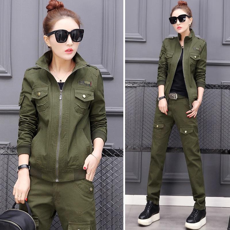 HW6010004 ชุดกางเกงทหารแจ็กเก็ตทหารหญิงฤดูใบไม้ผลิและฤดูร้อนสีเขียวกองทัพ(พรีออเดอร์) รอ 3 อาทิตย์หลังโอนเงิน สำเนา