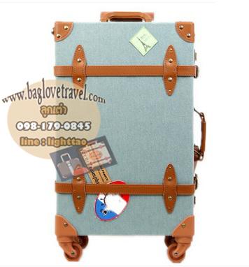 กระเป๋าเดินทางล้อลากวินเทจ รุ่น vintage retro สี ฟ้าคราม เซ็ตคู่ ขนาด 12+24 นิ้ว