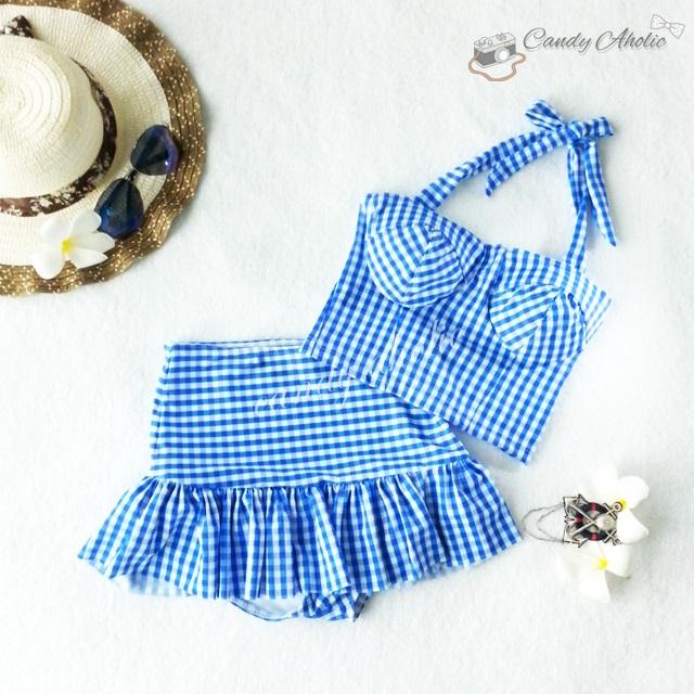 (free size) ชุดว่ายน้ำ ทูพีช ลายสก็อตสีฟ้า บราเป็นแบบสวมเต็มตัวไม่โป้ กระโปรงสก็อตสีฟ้า