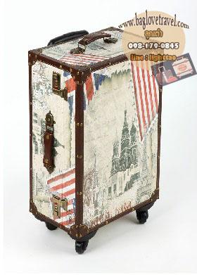 กระเป๋าเดินทางวินเทจ รุ่น vintage classic ลายเมืองยุโรป ขนาด 24 นิ้ว