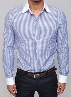 เสื้อเชิ้ต สีฟ้าสลับขาว