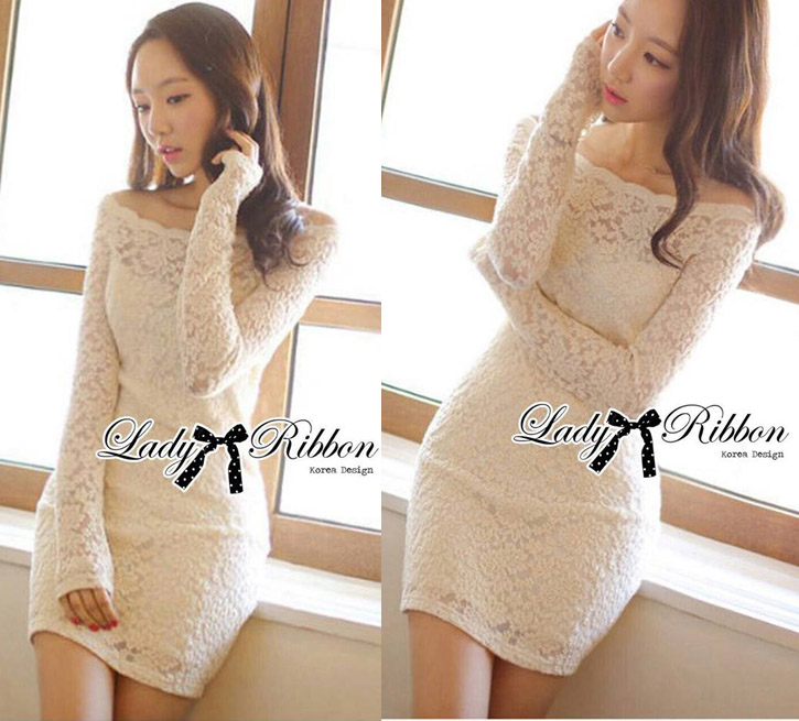 DR-LR-130 Lady Lindsay Off-shoulder Lace Body-con Dress in Ivory