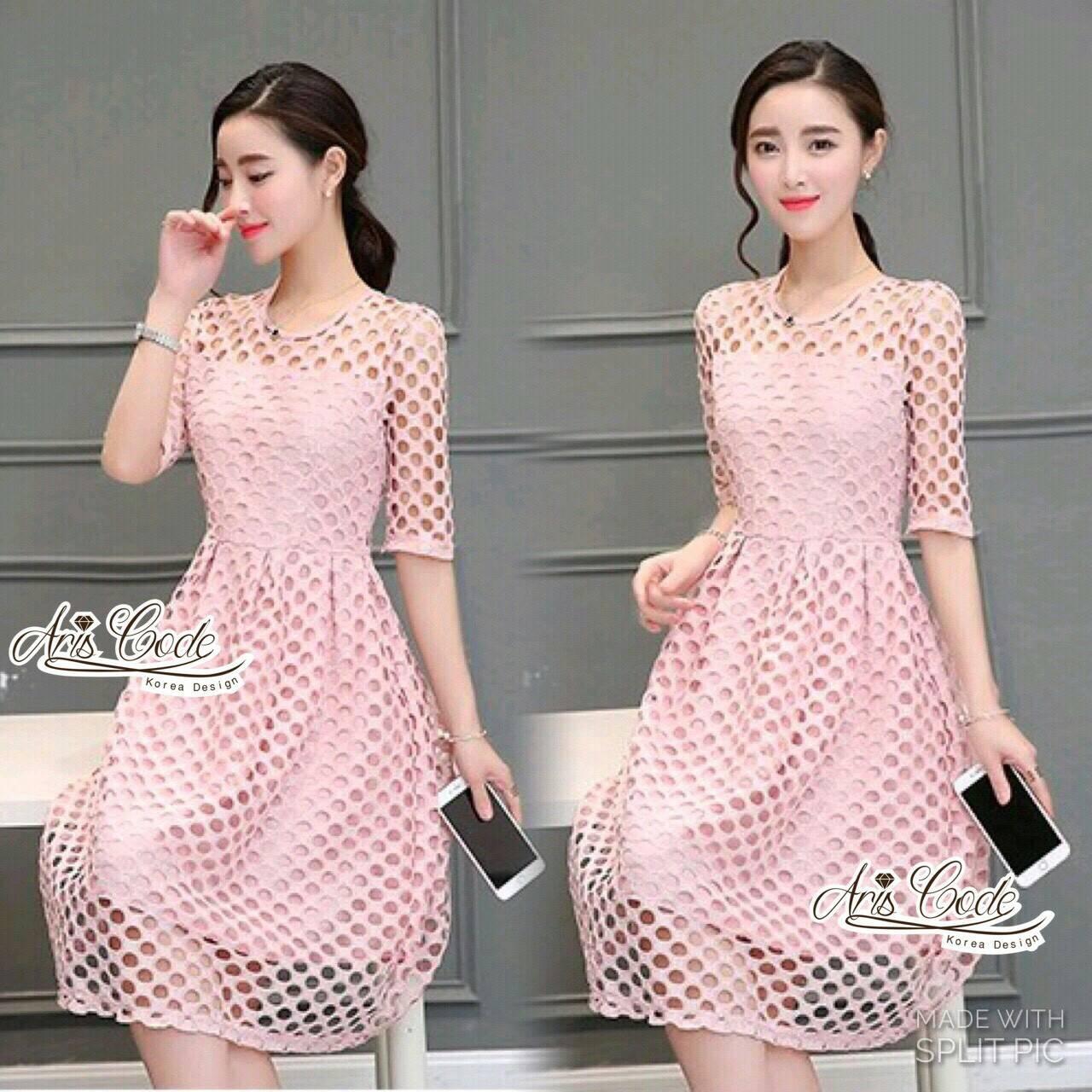 Pink lace dress skirt sweet by Aris Code A247-75E01