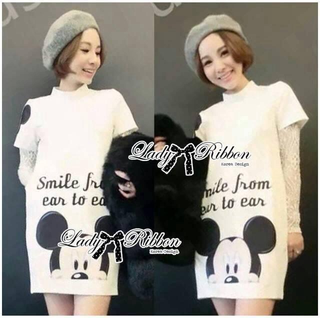 Lady Insert Lace Sleeve Mickie Print Polyester Dress