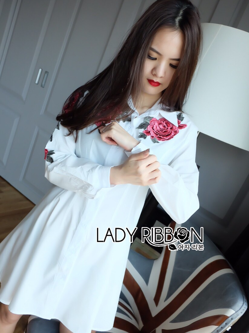 Lady Rachel Sexy Chic Red Roses Embroidered Shirt Dress L206-69B13