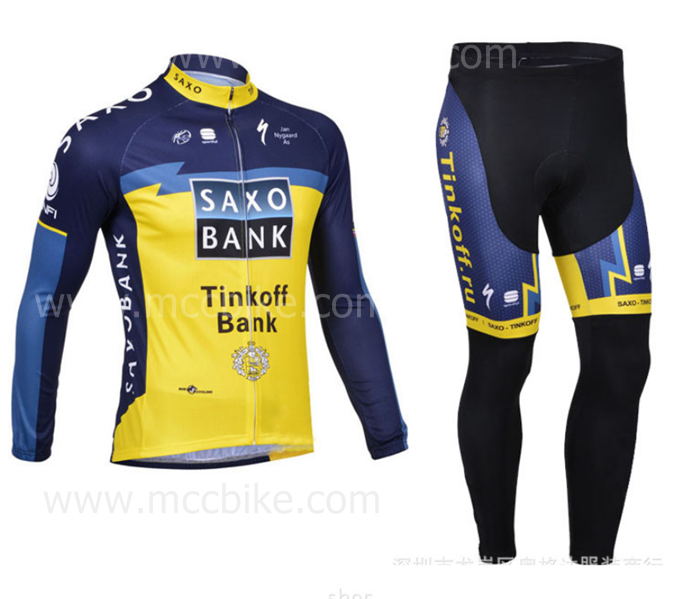 ชุดปั่นจักรยาน แขนยาว ทีม Saxo Bank ขนาด M พร้อมส่งทันที รวม EMS