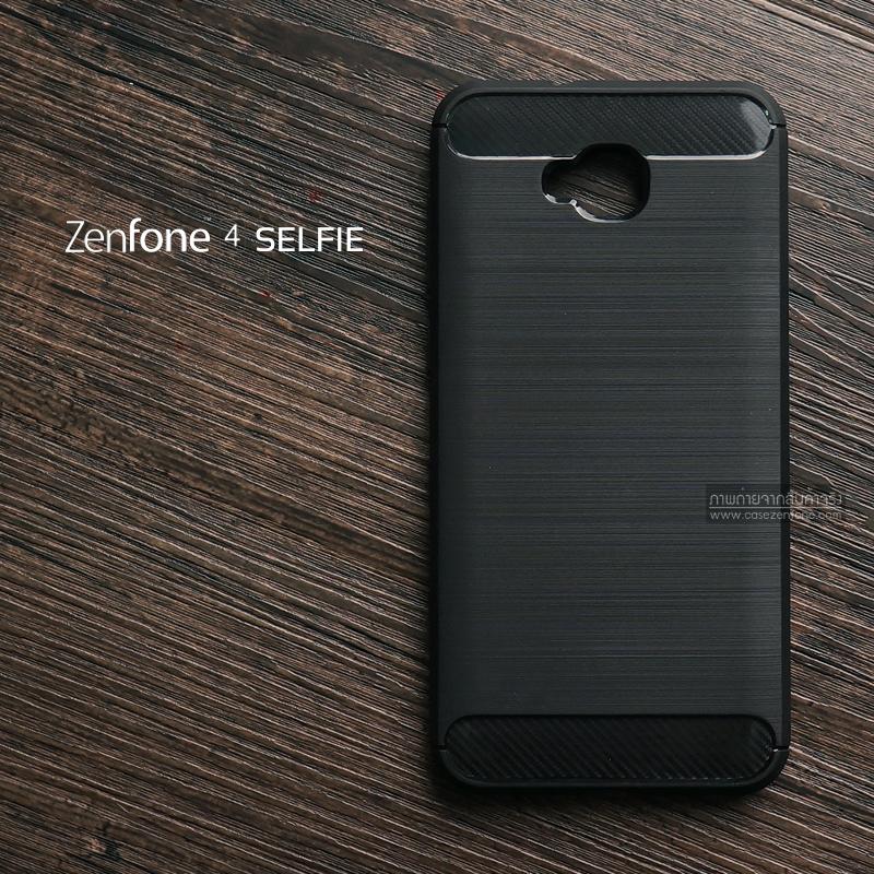 เคส Zenfone 4 Selfie (ZD553KL) เคสนิ่มเกรดพรีเมี่ยม (Texture ลายโลหะขัด) กันลื่น ลดรอยนิ้วมือ สีดำ