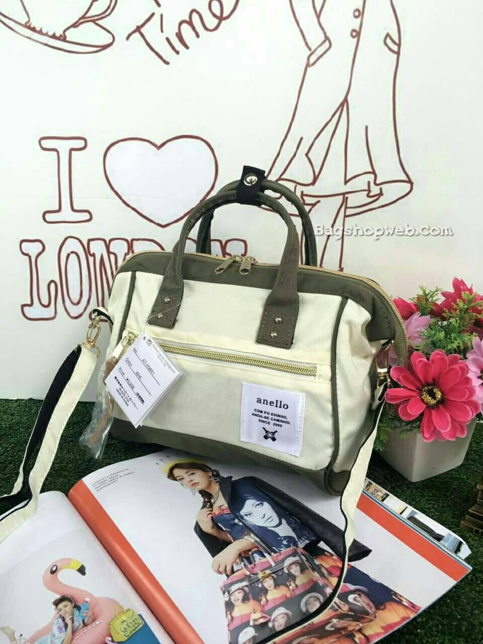 กระเป๋า Anello 2 Way Mini Boston Bag Twotone ขาวเขียว สะพายข้างลำตัว
