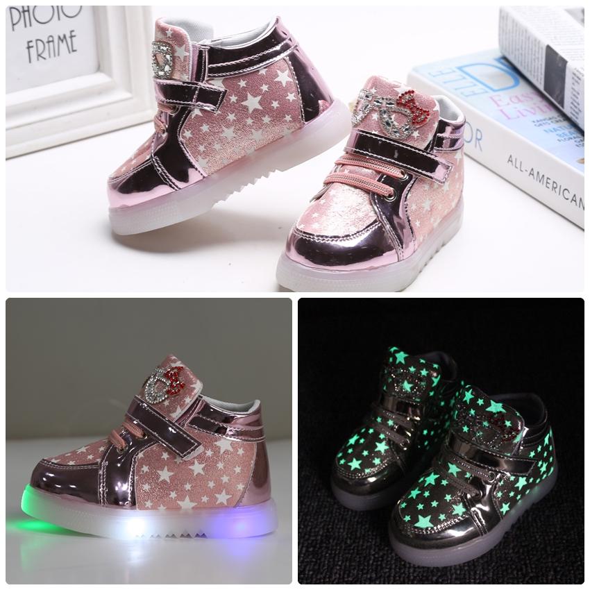 รองเท้าคัชชูเด็กเล็ก สีชมพูเมทัลลิค มีไฟ+เรืองแสงในที่มืด Size 26 - 30