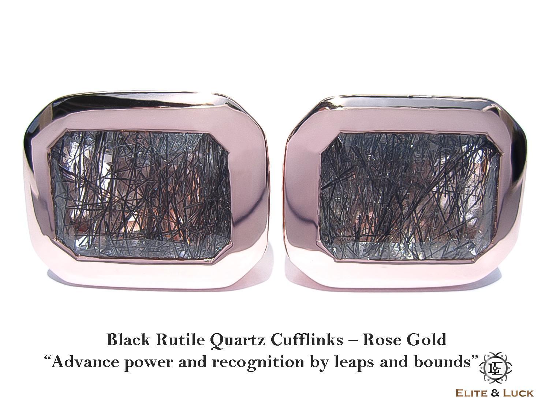 Black Rutile Quartz Sterling Silver Cufflinks สี Rose Gold รุ่น Classic