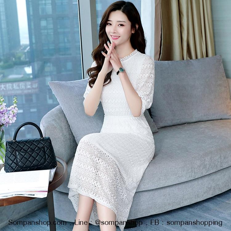 ชุดเดรสยาวลูกไม้สีขาว แขนสามส่วน กระโปรงยาวเลยเข่า ( สินค้าพร้อมส่ง S M L )
