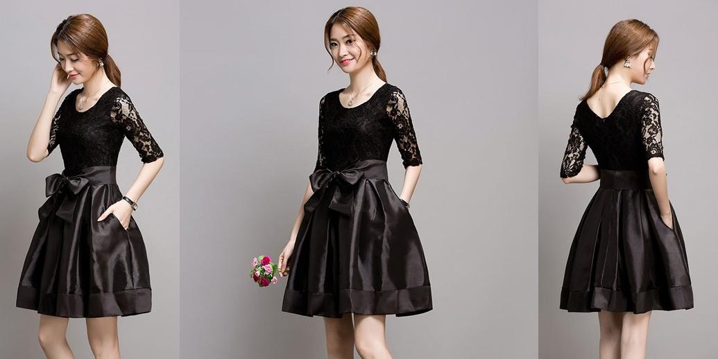 ชุดเดรสสั้นสีดำ ผ้าลูกไม้ผสมผ้าไหมเกาหลี แขนยาว น่ารัก
