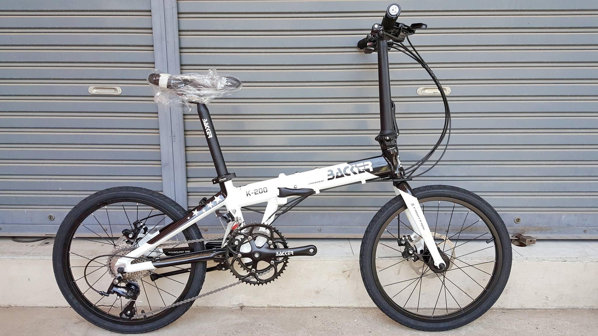จักรยานพับ ล้อ 20 นิ้ว Twitter Backer รุ่น K200 เฟรมอลูสีขาวดำ เกียร์ Shimano Sora 18 Speed ดุมล้อแบริ่ง จุดพับ Auto