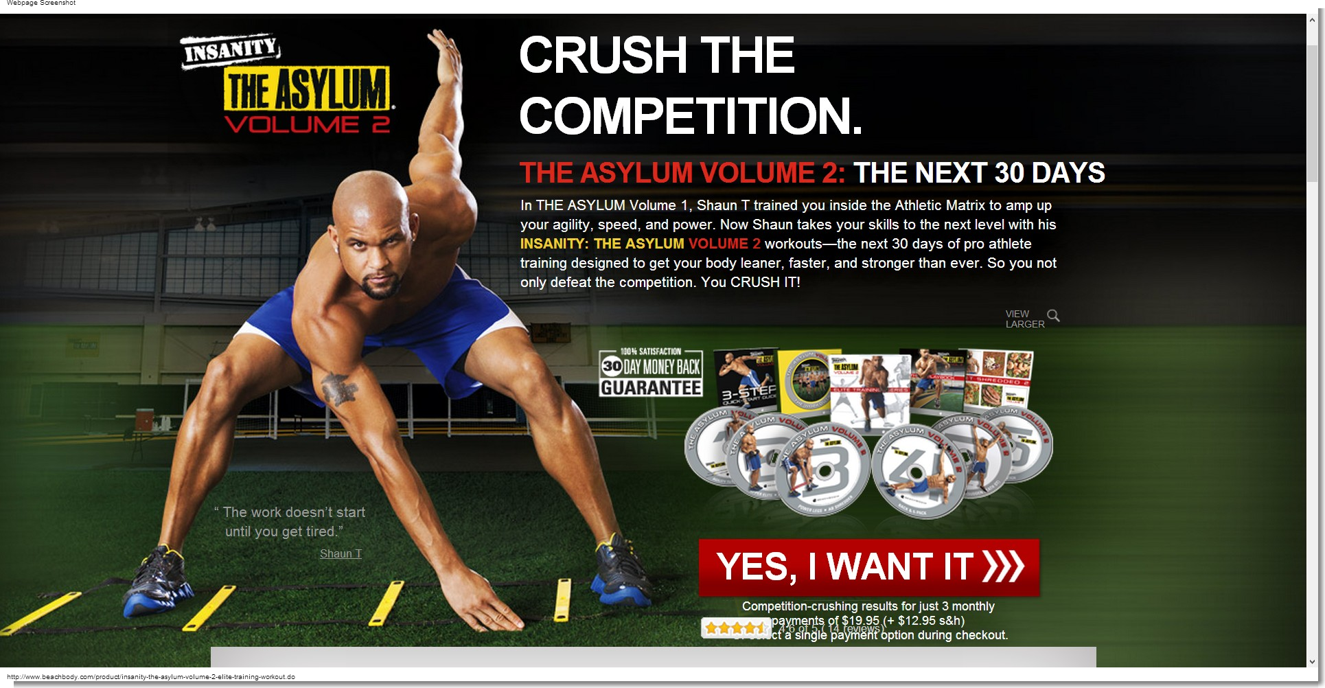 ดีวีดีออกกำลังกาย INSANITY: The ASYLUM Volume 2 - Elite Training 30-day DVD Workout 7 DVDs