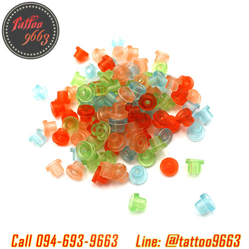 จุกยางก้านเข็มเครื่องสักคละสี ±100ชิ้น Multi-color Rubber Grommets Nipples For Tattoo Machine Needles Nipples (±100PCS)