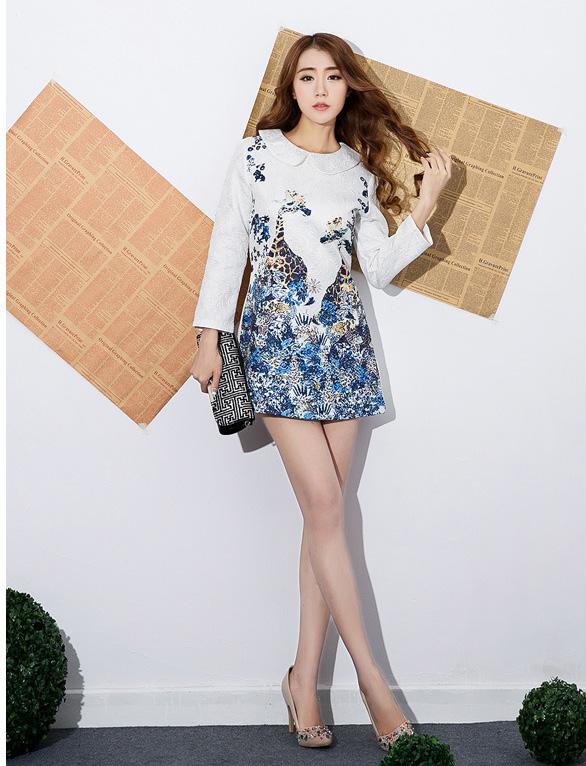ชุดเดรสน่ารักแฟชั่นเกาหลี สีขาว พิมพ์ลายเก๋ๆ คอปก แขนยาว ผ้าโพลีเอสเตอร์เนื้อหนา มีซิปหลัง