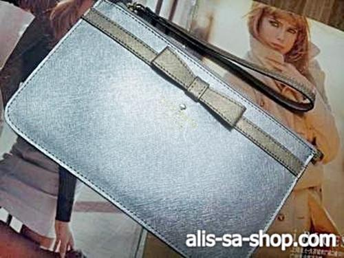 กระเป๋าสตางค์กระเป๋าคลัทช์ Kate Spade มินิ โบว์ทอง/กระเป๋าสีเงิน