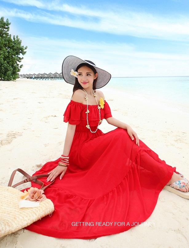 ชุดเดรสยาวใส่ไปเที่ยวทะเลสีแดง เปิดไหล่ ผ้าชีฟอง มีซับใน คอยืดแต่งระบาย เอวยืด ปลายกระโปรงแต่งระบาย