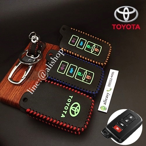 New ซองหนังแท้ ใส่กุญแจรีโมทรถยนต์ Toyota All New Camry,Altis ตัวท๊อป รุ่นด้ายสีเรืองแสง
