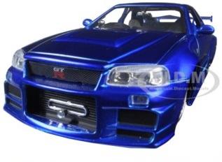 """พรีออเดอร์ รถเหล็ก รถโมเดล US Brian's Nissan GTR Skyline R34 Blue """"Fast & Furious"""" สเกล 1:24"""
