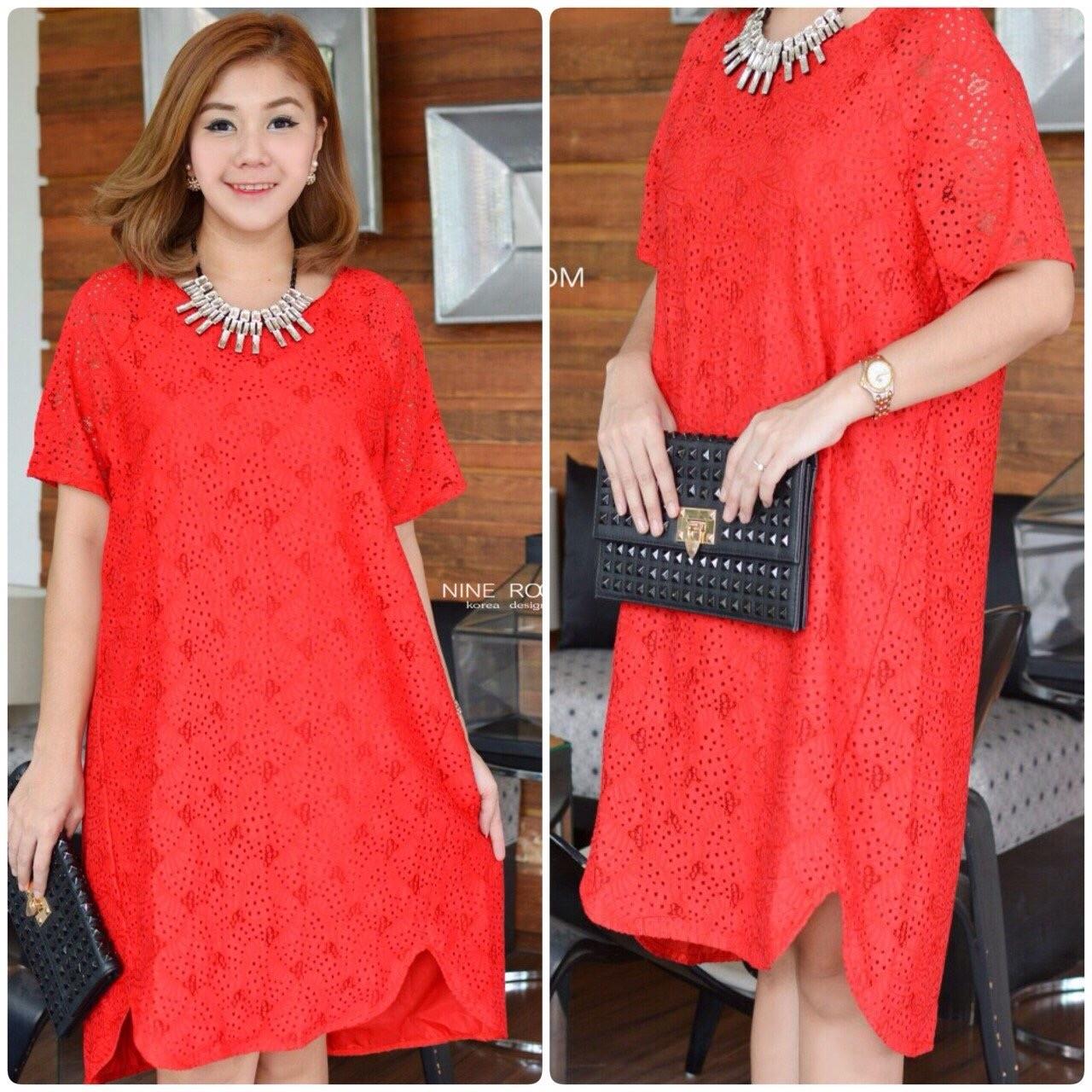 """รหัสNR431 **สีแดง** รอบอก 44"""" D&G Floral Lace With Curve Front Dress สีแดง"""