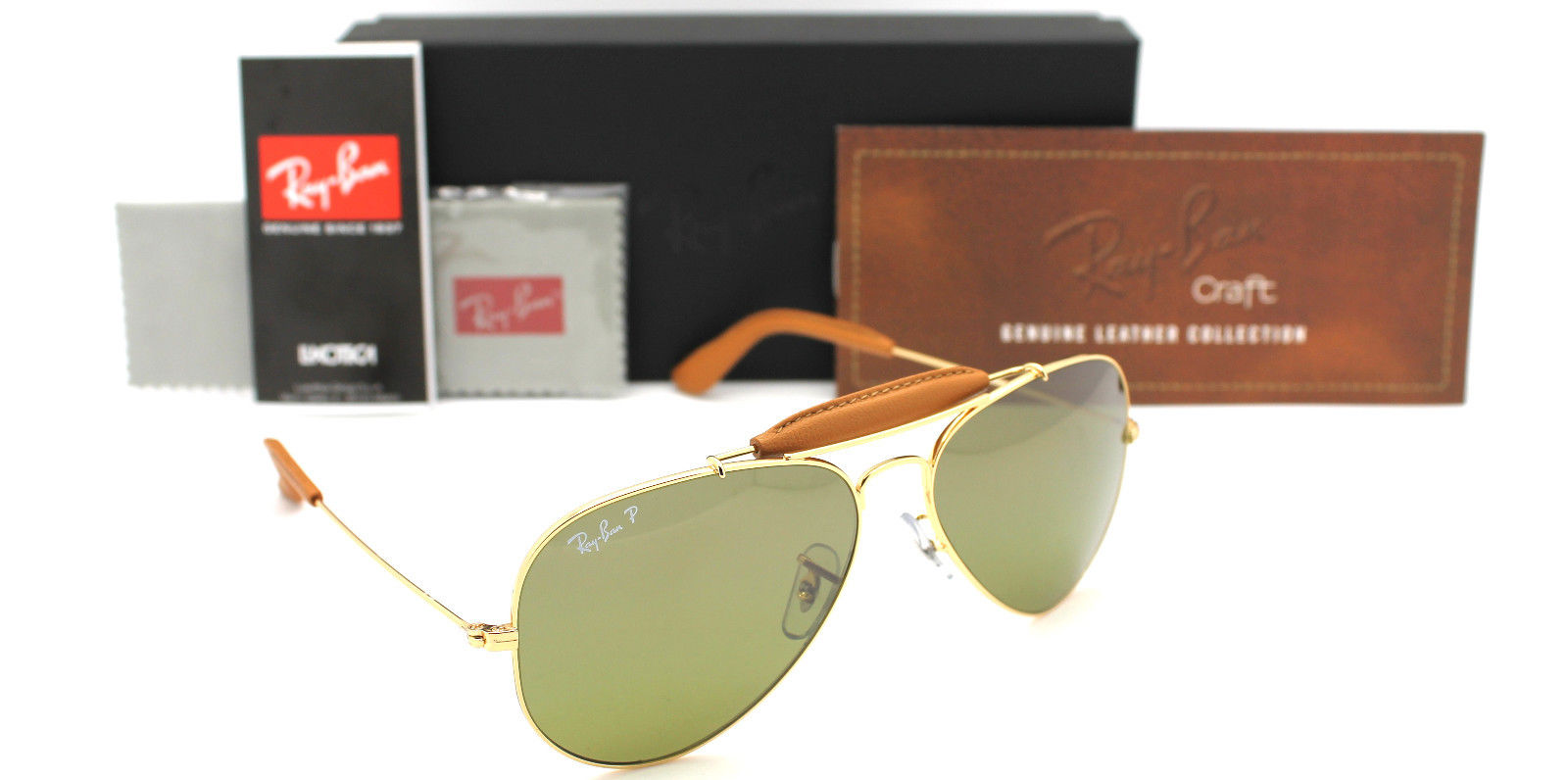 Ray Ban RB3422Q 001/M9 58MM POLARIZED CRAFT OUTDOORSMAN SUNGLASSES