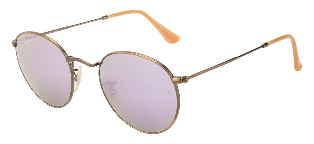 Ray Ban RB3447 167/4K Round metal lilac mirror