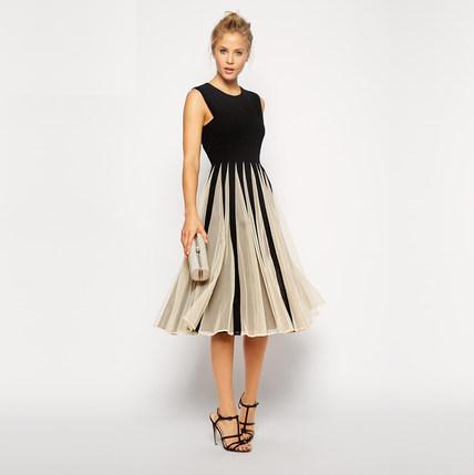 [พรีออเดอร์] ชุดเดรสกระโปรงผู้หญิงแฟชั่นยุโรปใหม่ แขนกุด แบบเก๋ เท่ห์ - [Preorder] New European and American Fashion Slim Sleeveless Dress with Skirt