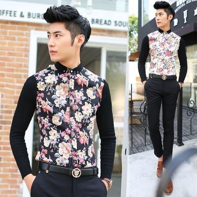 พรีออเดอร์ เสื้อเชิ้ตไหมพรมแฟชั่นเกาหลีสำหรับผู้ชาย แขนยาว เก๋ เท่ห์ - Preorder Men Korean Hitz Slim Long-sleeved Knitting Shirt