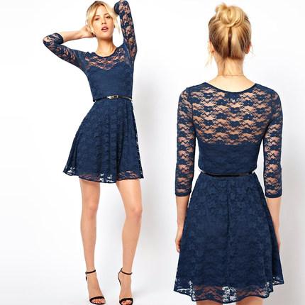 **พรีออเดอร์** ชุดเดรสผู้หญิงแฟชั่นยุโรปใหม่ แขนยาว ลูกไม้ พร้อมเข็มขัด แบบเก๋ เท่ห์ / **Preorder** New European Hollow Lace Stitching Fashion Slim Sexy Dress with Belt