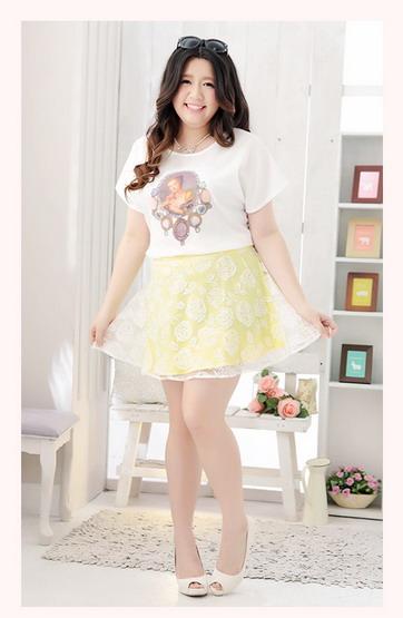 พรีออเดอร์ เสื้อยืด กระโปรง แฟชั่นเกาหลี เสื้อพิมพ์ลาย คอกลม ลายดอกไม้บนกระโปรงน่ารัก ไซส์ใหญ่ สำหรับสาวอ้วน สุดชีค - Preorder Women Korean Summer Hitz New Large Size Shirt and Cute Floral Skirt.