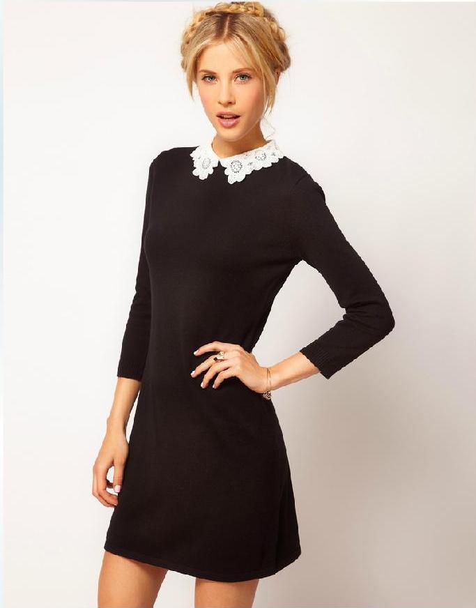 [พรีออเดอร์] ชุดเดรสผู้หญิงแฟชั่นเกาหลีใหม่สีดำ แขนยาว คอปกลูกไม้ แบบเก๋ เท่ห์ - [Preorder] New Korean Fashion Slim Lace Neck Long-sleeved Black Dress