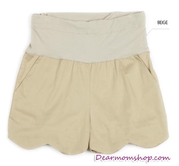 กางเกงคลุมท้องขาสั้น ปลายขาหยักเป็นคลื่น สีกากี