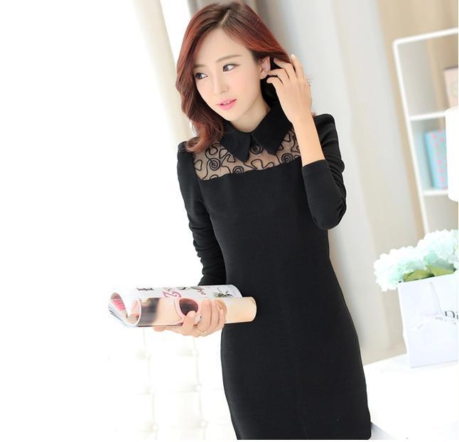 [พรีออเดอร์] ชุดเดรสผู้หญิงแฟชั่นเกาหลีใหม่ แขนยาว ลูกไม้ แบบเก๋ เท่ห์ - [Preorder] New Korean Fashion Slim Lace Long-sleeved Dress