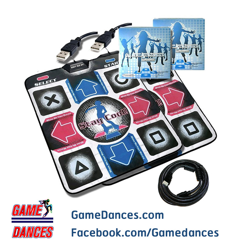 X-Treme Dance แผ่นเกมส์เต้นต่อคอมพิวเตอร์ สำหรับออกกำลังกาย Pack คู่ พร้อมสาย HDMI 3 เมตร