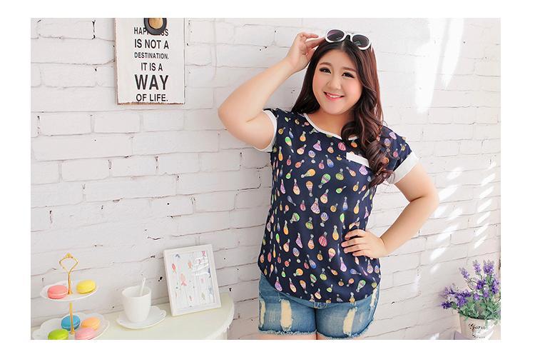 [พร้อมส่ง] เสื้อแฟชั่นเกาหลี แขนสั้น ไซส์ใหญ่ สำหรับสาวอ้วน 2XL - [In Stock] Women Korean Hitz New Short-Sleeved for Large Size 2XL Shirt